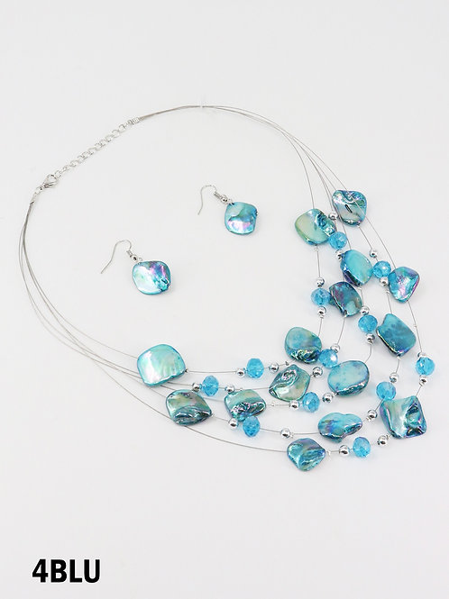 Turquoise Shell Illusion Necklace & Earrings Set