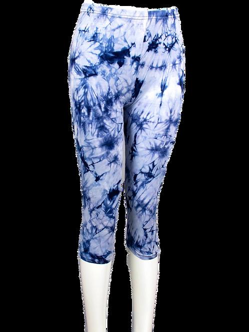Blue Tie Dyed Cotton Capri Leggings