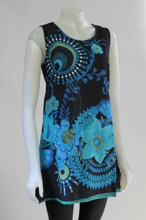 Turquoise Bold Flower Sleeveless Tunic/Dress