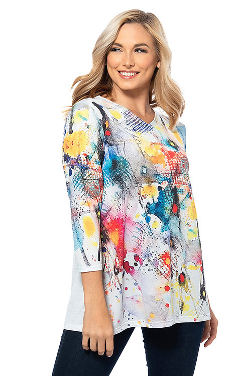 Splashy Print 3/4 Sleeve Tunic
