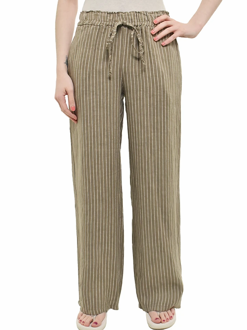 Striped Taupe Linen Pants