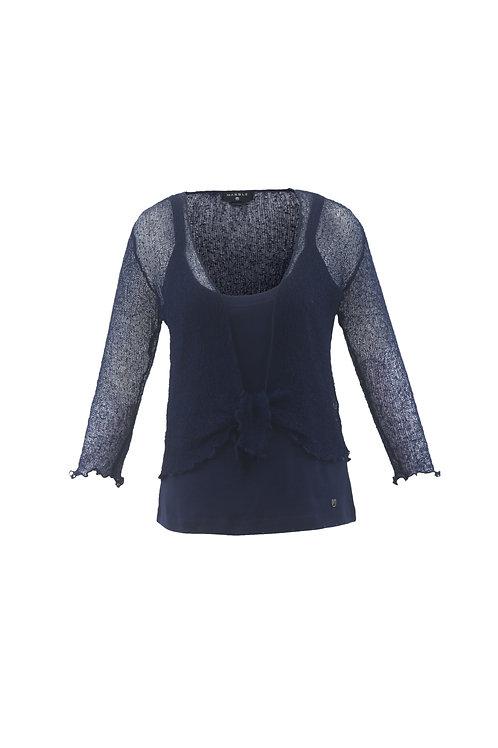 Midnight Blue Crochet Tie Front Shrug