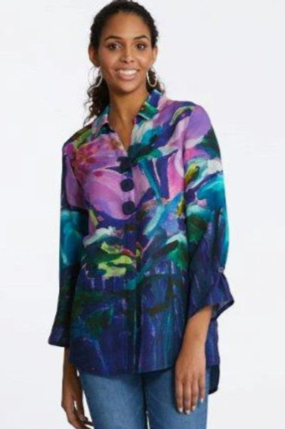 """""""Hybiscus at Night"""" Woven Challis Button Front Tunic Item #90230"""