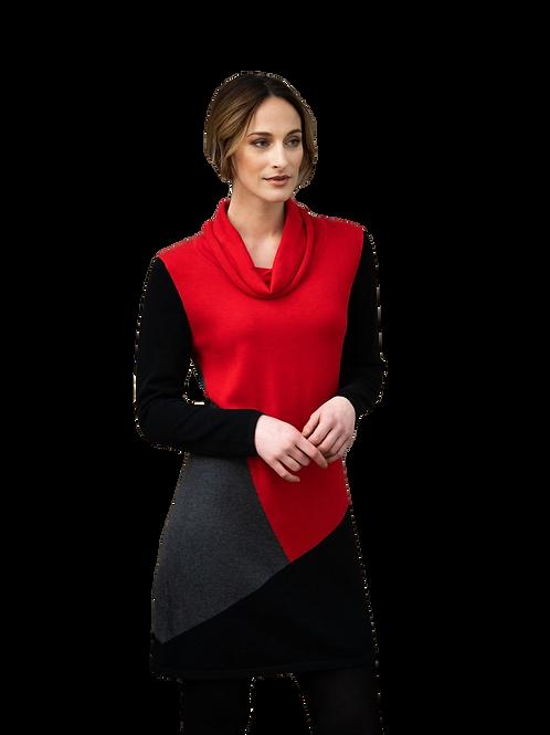 Marble of Scotland Red/Black/Grey Colourblock Tunic Dress