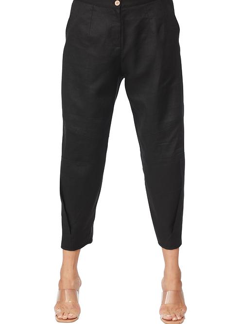 Carre Noir Black Linen Cropped Pant