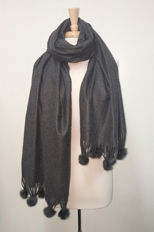 Charcoal  Scarf with Fur Pom Poms