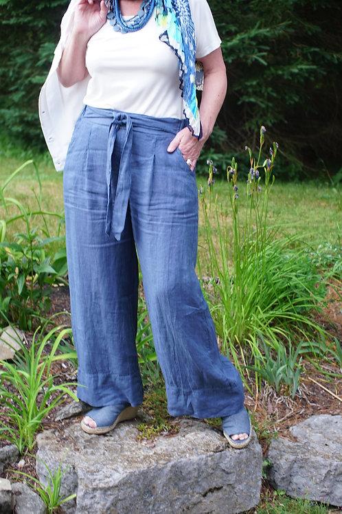 """""""Denim"""" Blue Linen Wide Leg Pant"""