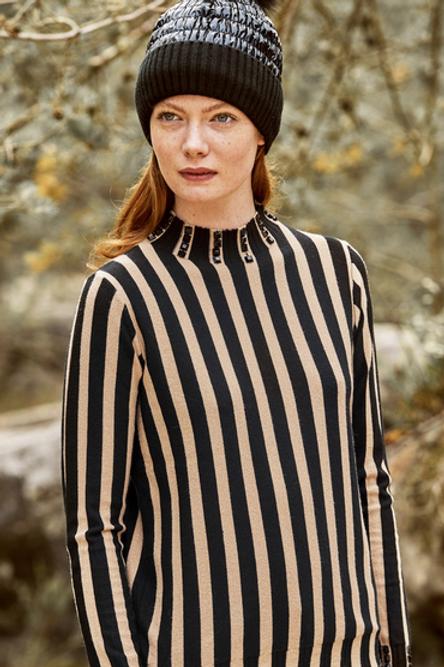 Black & Goldl Striped Sweater with Black Crystal Trim