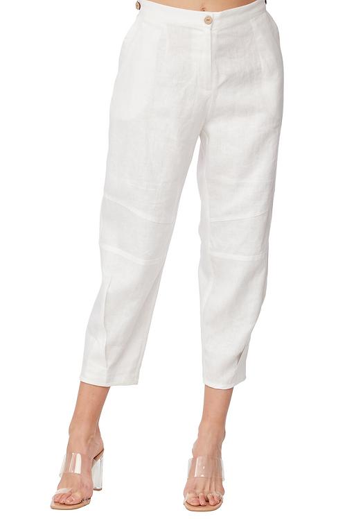 Carre Noir White Linen Cropped Pant