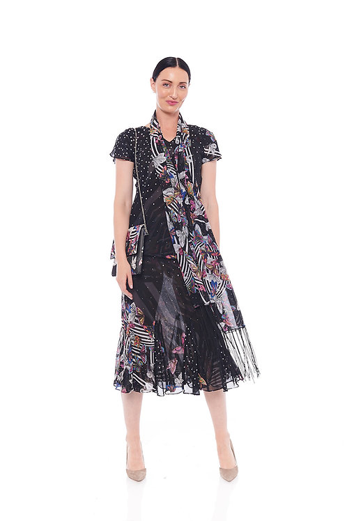 Miss Nikky Reversible Black and White Print Top & Skirt with scarf