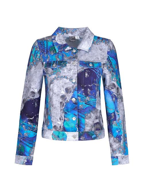 "Dolcezza ""Blue & White Ying Yan Symbol"" Jean-Style Jacket"