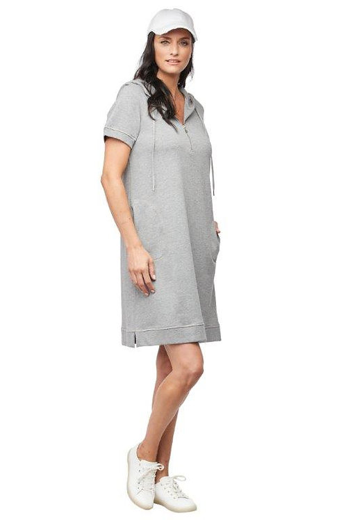 Carre Noir Grey Short Sleeve Hoodie Dress