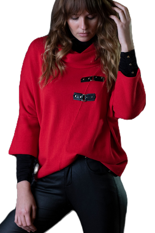 Red Dolman Sleeve Sweater with Double Tab Trim