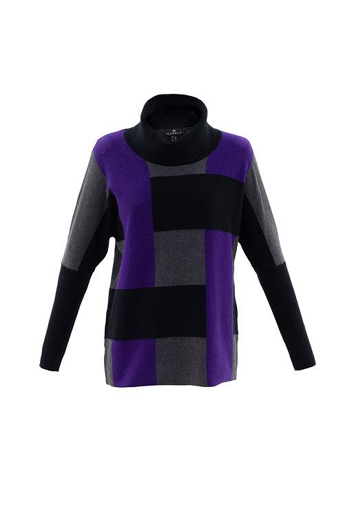 Purple/Black/Grey Colour Block  Cowl Neck Sweater