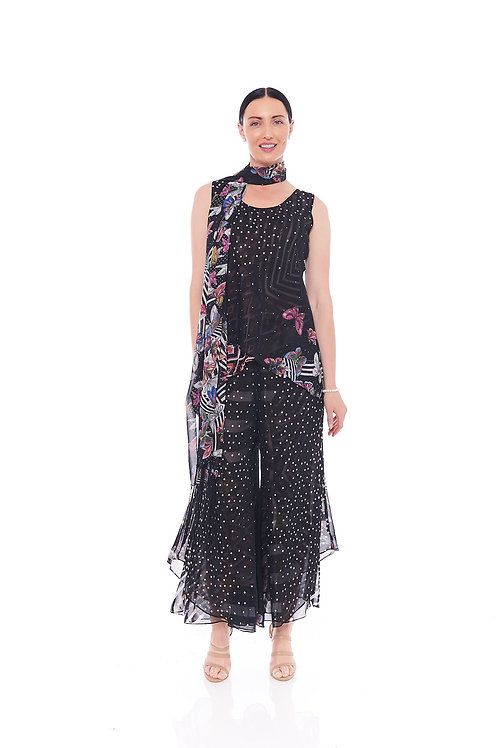 Miss Nikky Reversible Black and White Print Top & Palazzo Pant with scarf