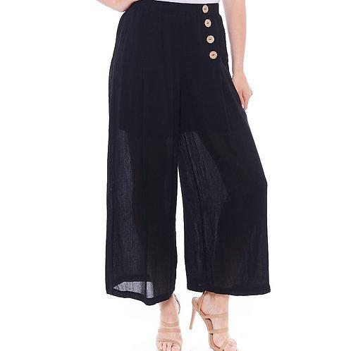 Miss Nikky Black Crinkle Wide Leg Pant