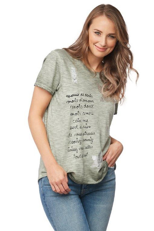 Carre Noir Silver Star Olive Tee Top