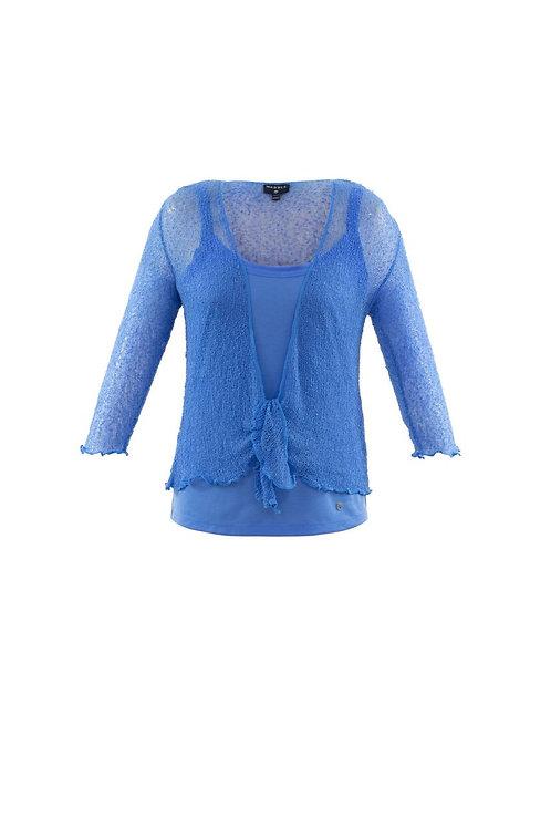 Sky Blue Crochet Tie Front Shrug