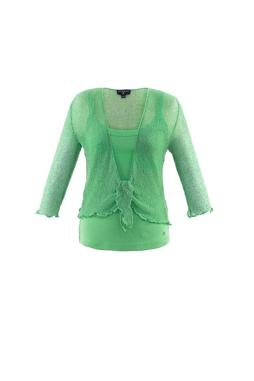 Leaf Green Crochet Tie Front Shrug