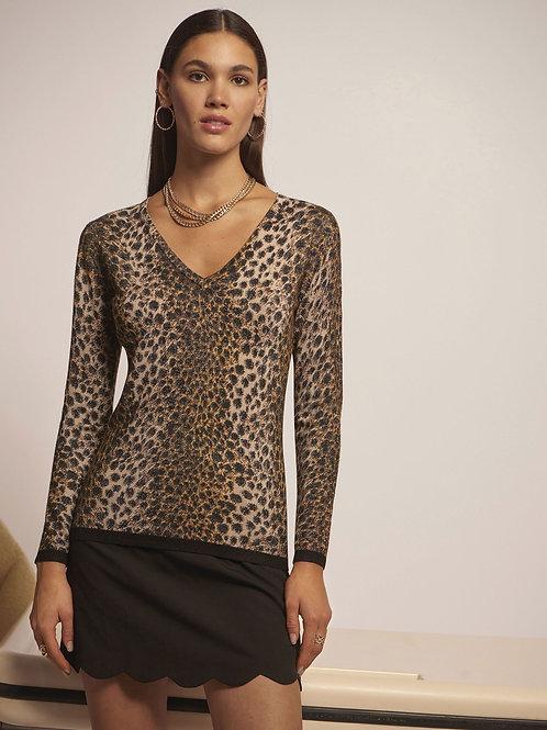 """Leo & Ugo Paris """"Sydney"""" Leopard Shimmer V-Neck Sweater"""