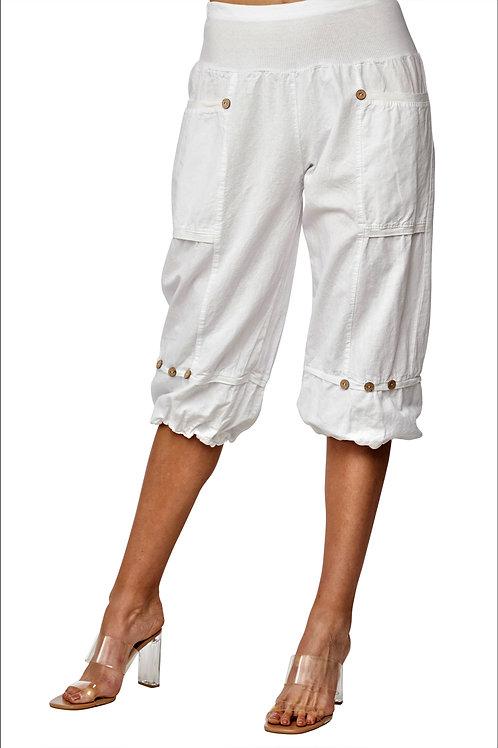 Carre Noir White Cotton Clam-Diggers