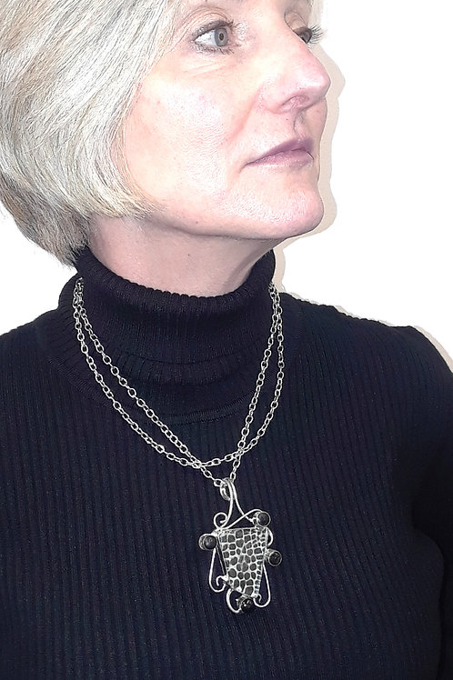 Silver and Glass Pendant with Double Chain