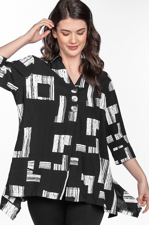 Black Tunic Shirt  with White Abstract Squares