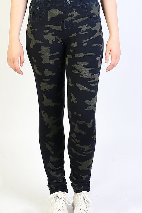 Olive and Indigo Camo Cozy  One Size Leggings
