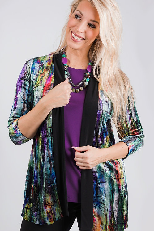 Colour Spectrum  Velvet Banded Cardigan