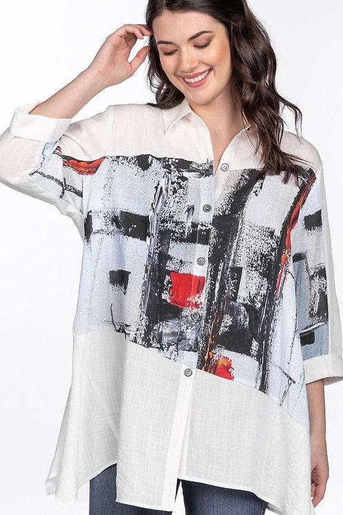 Oversized White Tunic Shirt with Digital Print Insert