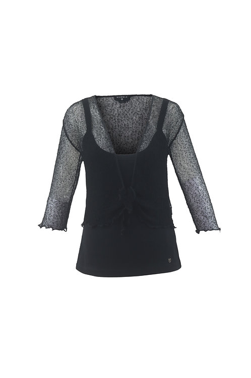 Black Crochet Tie Front Shrug