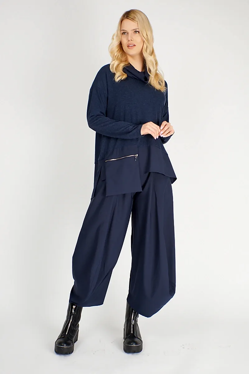 Denim Blue Jersey and Woven Tunic