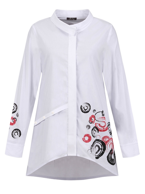 White Tunic Shirt with Red and Black Circles