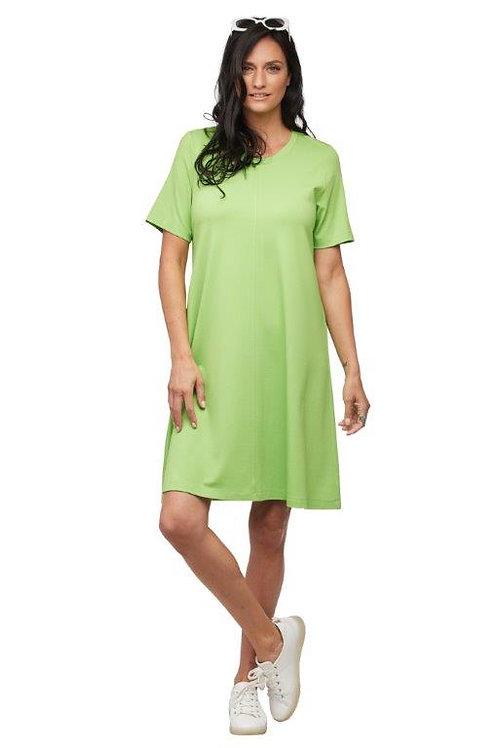 Carre Noir Lime Green Short Sleeve A-Line Dress