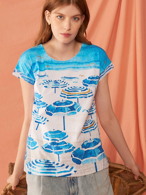 """Beach Umbrellas"" Print Tee by Leo & Ugo Paris"
