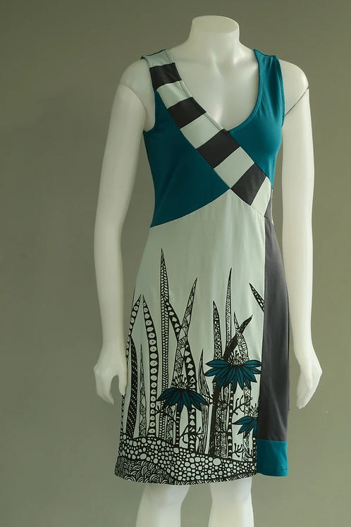 Leopards & Roses Teal and Slate Grey Coneflower Sleeveless Dress