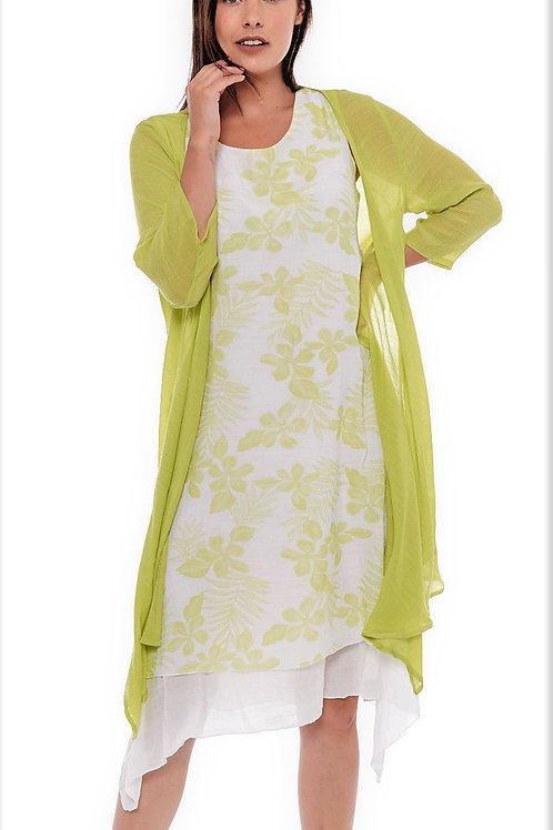 Miss Nikky Lime and White Layered Floral Dress and Lime Cardigan