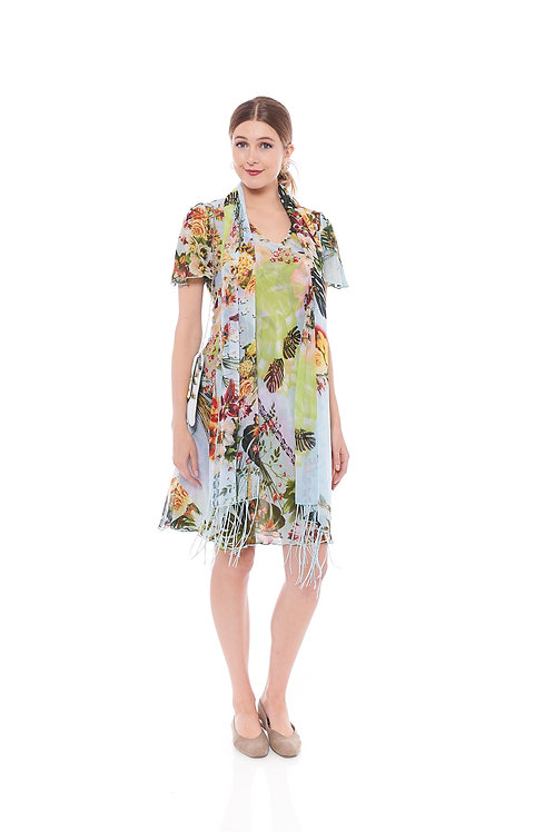 Miss Nikky Reversible Green Floral Print Dress with scarf