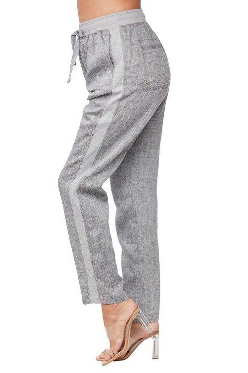 Carre Noir Drawstring Waist Grey Linen Pant