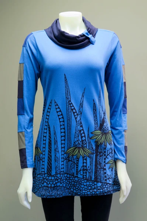 Leopards & Roses Blue/Navy Rolled Collar Tunic