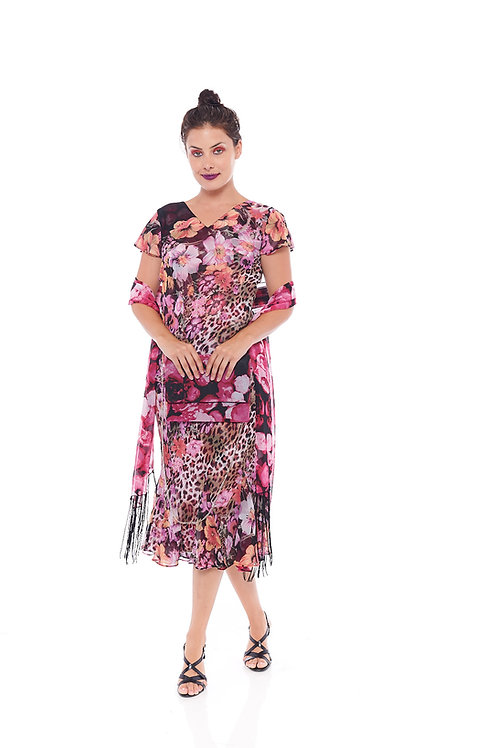 Miss Nikky Reversible Pink Floral Print Dress with scarf