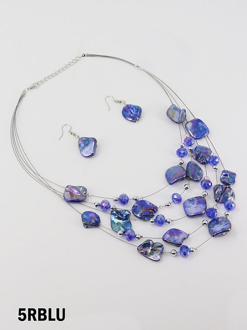 Blue Shell Illusion Necklace & Earrings Set
