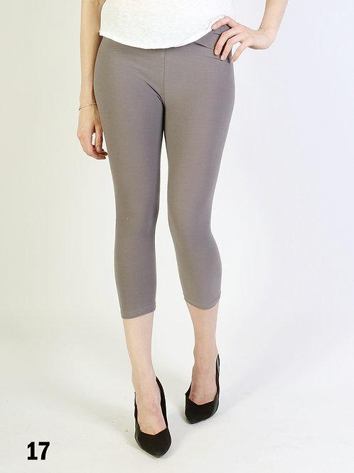Light Grey Silky Capri Leggings