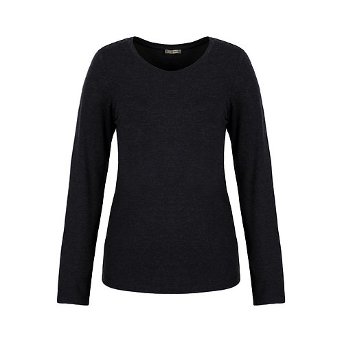 Dolcezza Charcoal Soft Touch Long Sleeve Crewneck Tee 70550