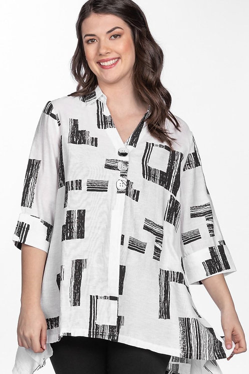 White Tunic Shirt with Black Abstract Squares
