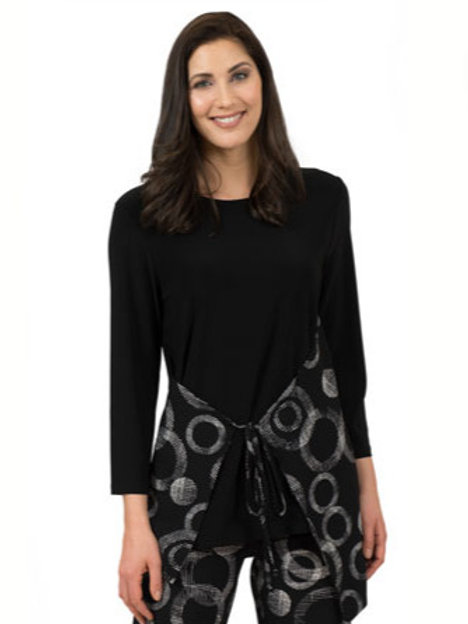 Black Jersey Tunic with Circle Print Wrap Front