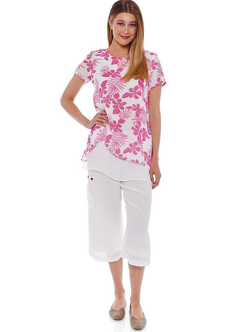 Miss Nikky Fuchsia and White Layered Floral Tunic