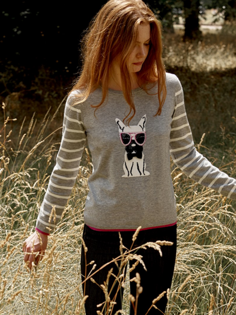 """A Very Cool Dog"" light grey crew-Neck Sweater"
