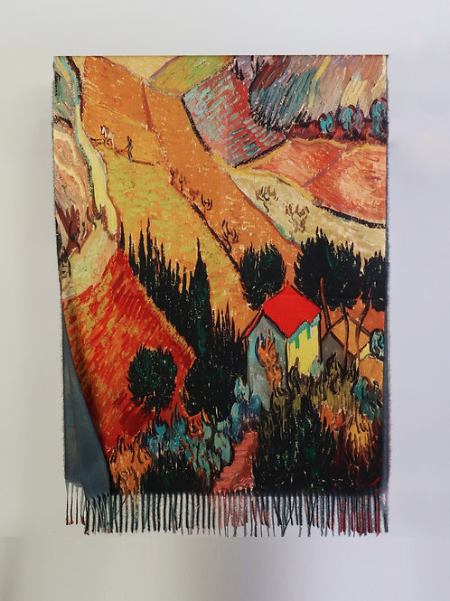 """Van Gogh """"Landscape with House and Plowman"""" Scarf"""
