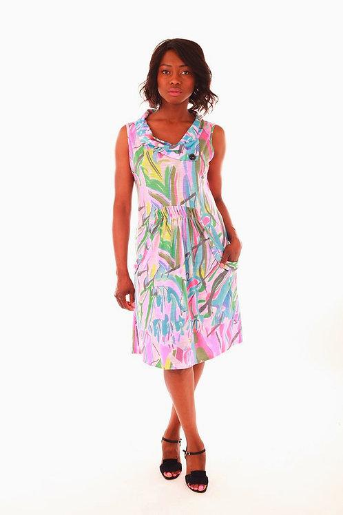 Fresh FX Multi Coloured Print Sleeveless Dress